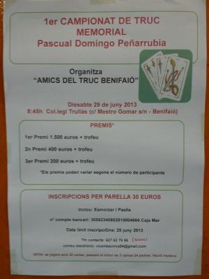 1º CAMPEONATO DE TRUC MEMORIAL PASCUAL DOMINGO PEÑARRUBIA