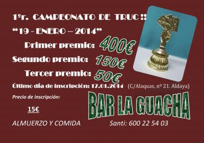 PRIMER CAMPEONATO DE TRUC, BAR LA GUACHA (ALDAYA)