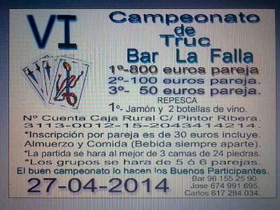 """Campeonato de Truc ( Bar la falla ) de Torrent """"Valencia"""""""
